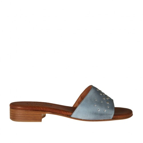 Woman's open mules in blue grey leather with studs heel 2 - Available sizes:  32, 33, 43