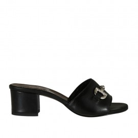 Woman's open mules in black leather with accessory heel 4 - Available sizes:  32, 33, 34, 42, 43
