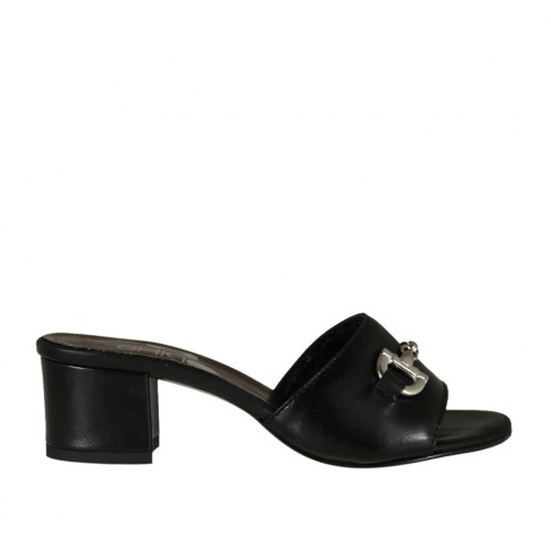 Woman's open mules in black leather with accessory heel 4 - Available sizes:  32