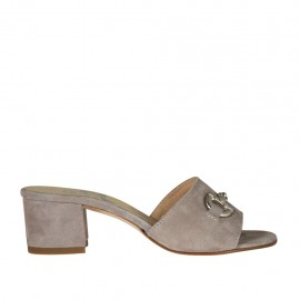 Woman's open mules in grey suede with accessory heel 4 - Available sizes:  32, 33, 34, 42, 43, 45