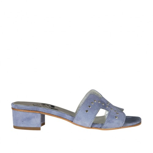 Woman's open mules in blue grey suede with studs heel 3 - Available sizes:  33, 34, 43, 44