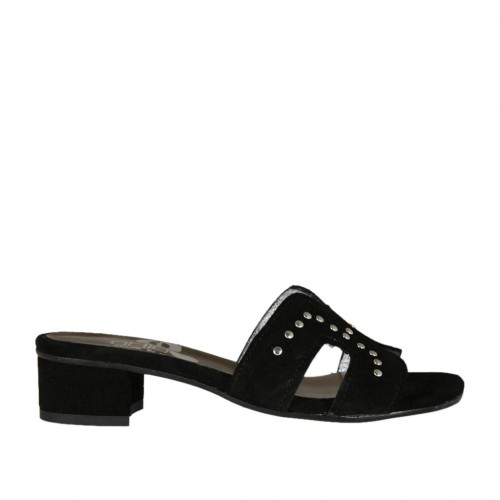 Woman's open mules in black suede with studs heel 3 - Available sizes:  32, 42