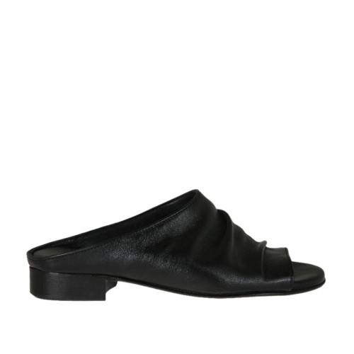 Woman's mules in black leather heel 2 - Available sizes:  33