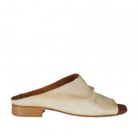 Woman's mules in beige leather heel 2 - Available sizes:  32, 33, 34, 42, 43, 44, 45