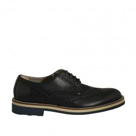 Men's casual derby shoe with laces and wingtip in blue leather and printed leather - Available sizes:  37, 38
