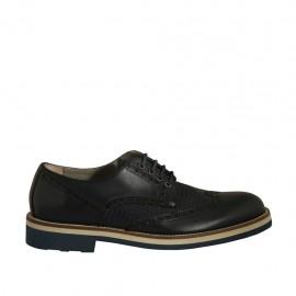 Zapato derby con cordones y punta de ala para hombre en piel y piel estampada azul - Tallas disponibles:  37, 38