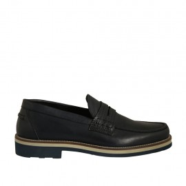 Men's casual mocassin in dark blue leather and printed leather - Available sizes:  36, 37, 38, 46, 48, 49, 50