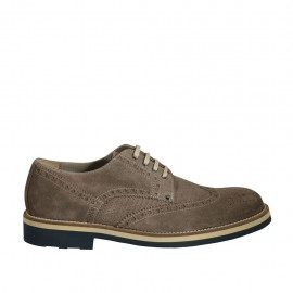 Men's casual laced derby shoe with Brogue decorations in taupe suede and printed suede - Available sizes:  37, 38, 46