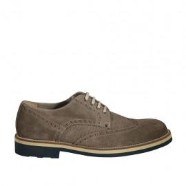 Zapato deportivo derby con cordones y decoraciones Brogue para hombre en gamuza y gamuza imprimida gris pardo - Tallas disponibles:  37, 38, 46, 49