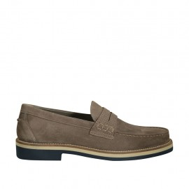 Men's mocassin in taupe suede and printed suede - Available sizes:  36, 37, 38, 46, 47, 49, 50