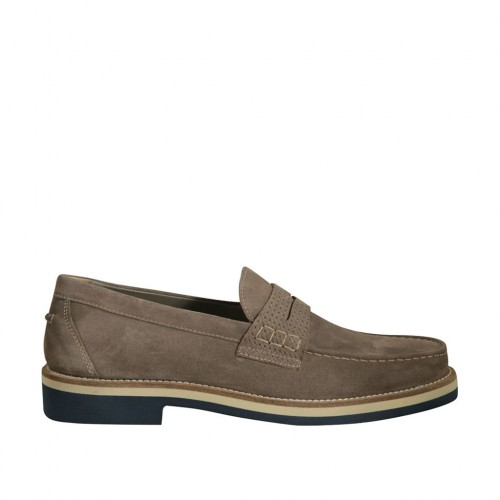 Men's loafer in taupe suede and printed suede - Available sizes:  36, 38, 50