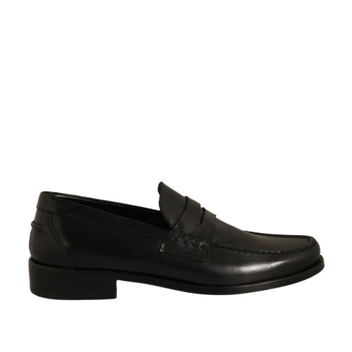 Man's loafer in black leather - Available sizes:  36, 37, 38, 46, 47, 48, 49, 50