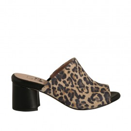 Woman's open mules in printed suede and black leather heel 5 - Available sizes:  32, 33, 34, 42
