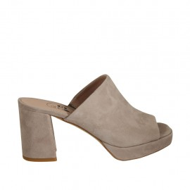 Woman's mules in dove grey suede with platform and heel 7 - Available sizes:  34, 42, 43, 44