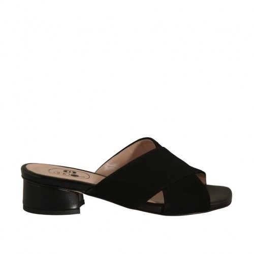 Woman's open mules in black suede and leather heel 3 - Available sizes:  42