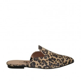 Woman's closed mules in printed suede heel 1 - Available sizes:  33, 34