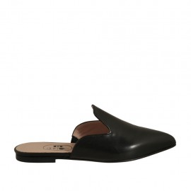 Woman's closed toe mules in black leather heel 1 - Available sizes:  32, 33, 34, 42, 43