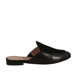 Mule à bout fermé pour femmes en cuir et daim noir talon 1 - Pointures disponibles:  32, 33, 34, 42, 43