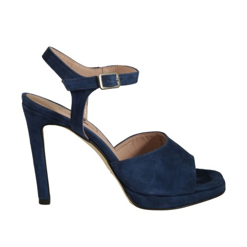 Woman's sandal with platform and strap in blue suede heel 10 - Available sizes:  42, 43, 45