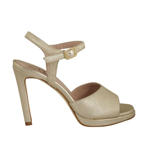 Woman's strap sandal with platform in laminated platinum leather heel 10 - Available sizes:  32, 34, 42, 43, 44, 45