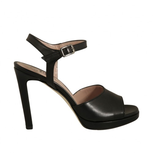 Woman's strap sandal with platform in black leather with heel 10 - Available sizes:  42, 43, 44