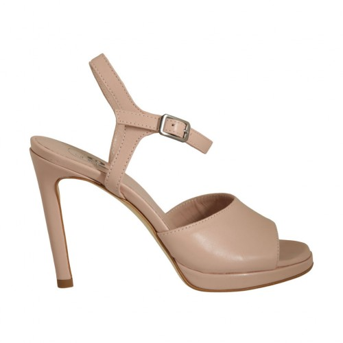 Woman's strap sandal with platform in nude leather heel 10 - Available sizes:  34, 42, 43, 44, 45