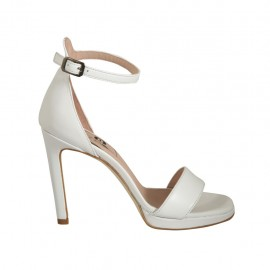 Woman's open shoe with strap and platform in white leather heel 10 - Available sizes:  44, 45