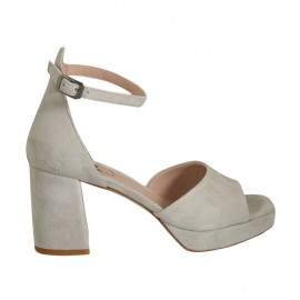Woman's open shoe with strap and platform in grey suede heel 7 - Available sizes:  32, 33, 34, 42, 43, 44, 45