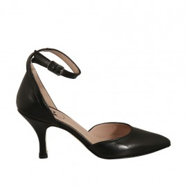 Woman's pointy open shoe with strap in black leather heel 7 - Available sizes:  32, 33, 34, 42, 43, 44, 45