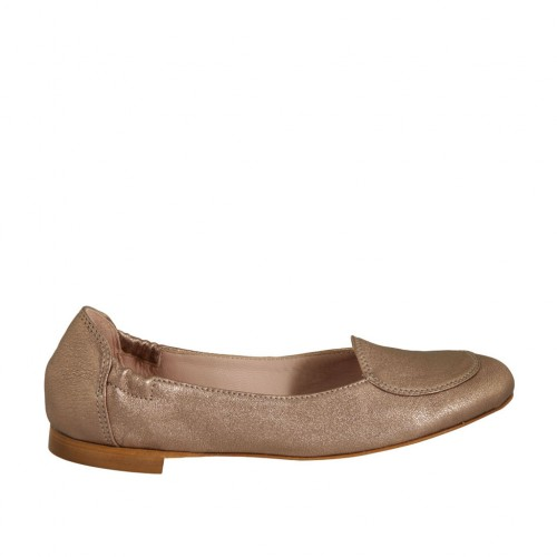 Woman's highfronted ballerina in bronze laminated leather heel 1 - Available sizes:  32, 33