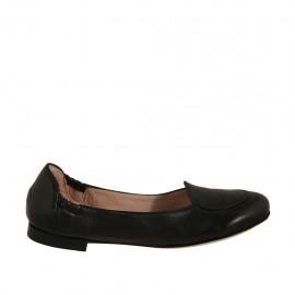 Ballerinaschuh für Damen aus schwarzem Leder Absatz 1 - Verfügbare Größen:  32