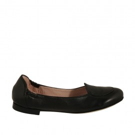 Woman's highfronted ballerina in black leather heel 1 - Available sizes:  32, 33, 34, 43, 44, 46