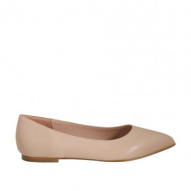 Woman's pointy ballerina shoe in nude leather heel 1 - Available sizes:  33, 34, 43, 44, 46
