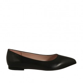 Woman's pointy ballerina in black leather heel 1 - Available sizes:  33, 34, 42, 43, 46