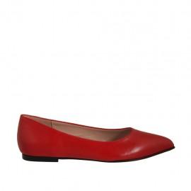 Bailarina a punta para mujer en piel roja tacon 1 - Tallas disponibles:  33, 34, 42, 43, 44, 46