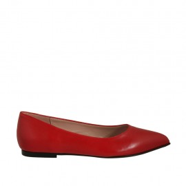 Woman's pointy ballerina shoe in red leather heel 1 - Available sizes:  33, 42, 43, 44, 46