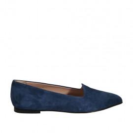 Mocasín a punta para mujer en gamuza azul tacon 1 - Tallas disponibles:  34