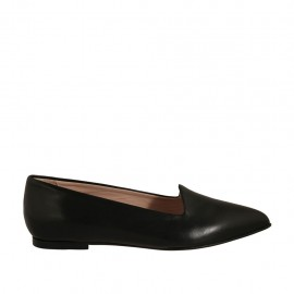 Woman's pointy mocassin in black leather heel 1 - Available sizes:  32, 33, 34, 42, 43, 44, 45, 46