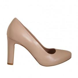 Zapato de salon para mujer en piel color desnudo con plataforma interna y tacon 9 - Tallas disponibles:  43, 44