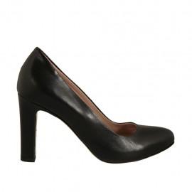 Zapato de salon para mujer con plataforma interna en piel negra tacon 9 - Tallas disponibles:  32, 33, 34, 42, 43, 44, 45