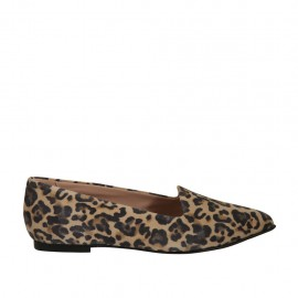 Woman's pointy mocassin in printed suede heel 1 - Available sizes:  32, 33, 34, 42, 43, 44, 45, 46