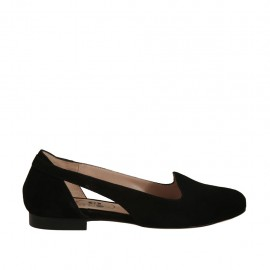 Bailarina para mujer con cortes laterales en gamuza negra tacon 1 - Tallas disponibles:  33