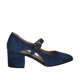 Woman's pump with strap and sidecuts in blue suede heel 5 - Available sizes:  32, 33, 34, 42, 43, 44, 45