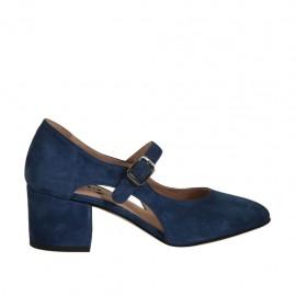 Zapato de salon con cortes laterales para mujer con cinturon en gamuza azul tacon 5 - Tallas disponibles:  32, 33, 34, 42, 43, 44, 45