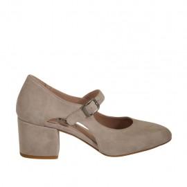 Zapato de salon con cortes laterales para mujer con cinturon en gamuza gris tacon 5 - Tallas disponibles:  32, 33, 34, 43, 44