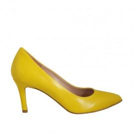 Zapato de salon para mujer en piel amarillo tacon 7 - Tallas disponibles:  33, 34, 42, 43, 45