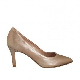 Zapato de salon para mujer en piel laminada bronce tacon 7 - Tallas disponibles:  45