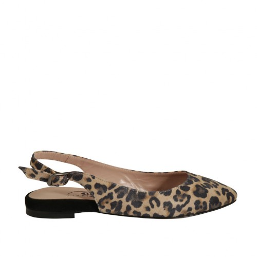 Woman's slingback pump in printed suede heel 1 - Available sizes:  32