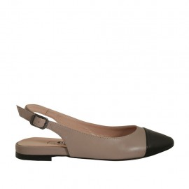Woman's slingback pump in grey and black leather heel 1 - Available sizes:  32, 33