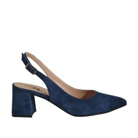 Woman's slingback pump in blue suede heel 5 - Available sizes:  32, 33, 34, 42, 43, 44, 45